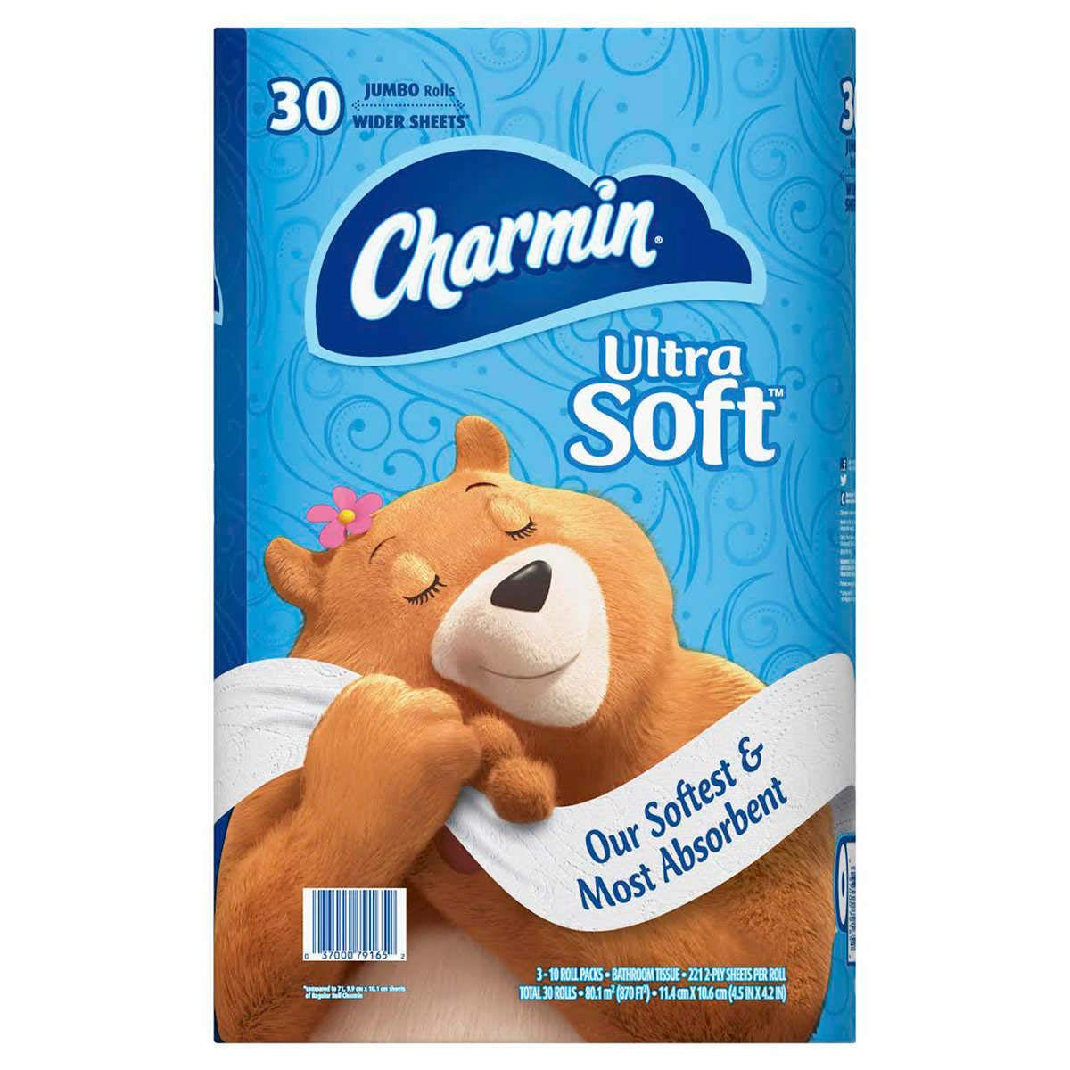 Charmin Ultra Soft Toilet Paper 30 Jumbo Rolls, Bath Tissue, White by Charmin