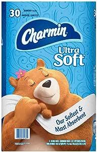Charmin Ultra Soft Toilet Paper 30 Jumbo Rolls, Bath Tissue, White