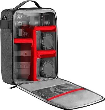 Mochila Cámara Impermeable, Selighting Bolsa Cámara Reflex Insertar Antichoques Partición Acolchada Bolsa Funda Mochila para Nikon Canon DSLR SLR Lente De Protección Case: Amazon.es: Deportes y aire libre