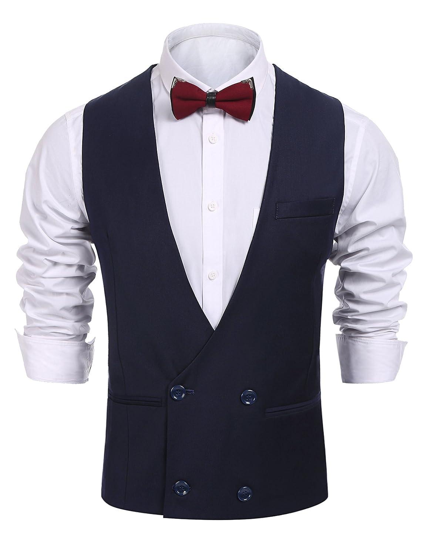 Coofandy Men S Double Breasted Business Suit Vest V Neck Tuxedo Vest