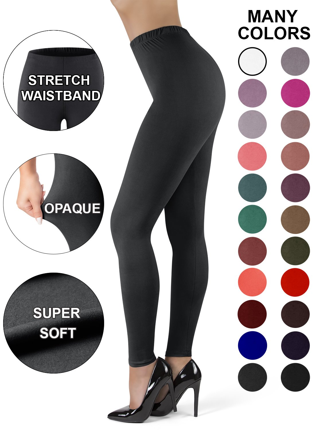 Satina High Waisted Leggings for Women | New Full Length w/Stretch Waistband | Ultra Soft Opaque Non See Through (OneSize, Black)