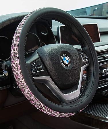Steering Wheel Cover Bling Rhinestones Crystals Car Handcraft PU Leather Girls