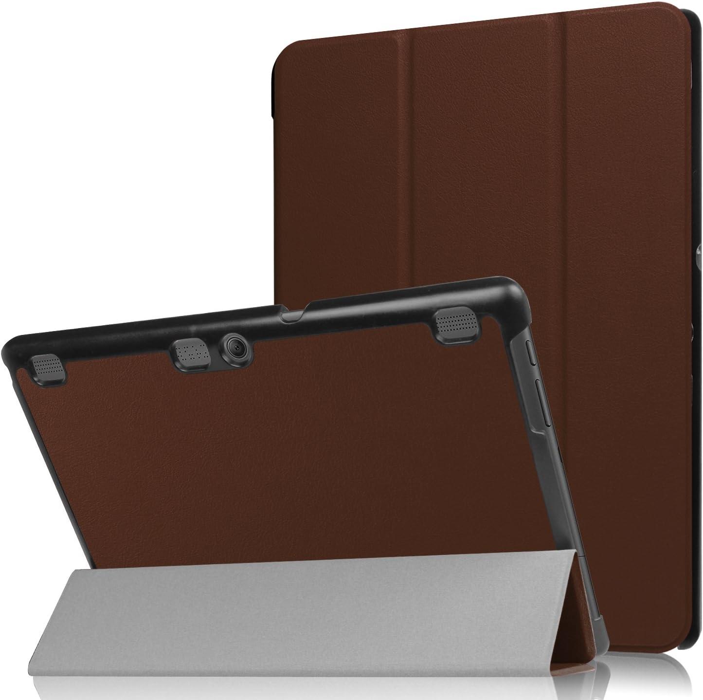 """Asng Lenovo Tab 2 A10/TAB-X103F Tab 10 Case, Ultra Slim Lightweight Tri-Fold Cover for Lenovo Tab 2 A10-70/Tab 2 A10-30/Tab 3 Plus/Tab 3 10 Business TB3-X70/TAB-X103F Tab 10 10.1"""" Tablet (Brown)"""