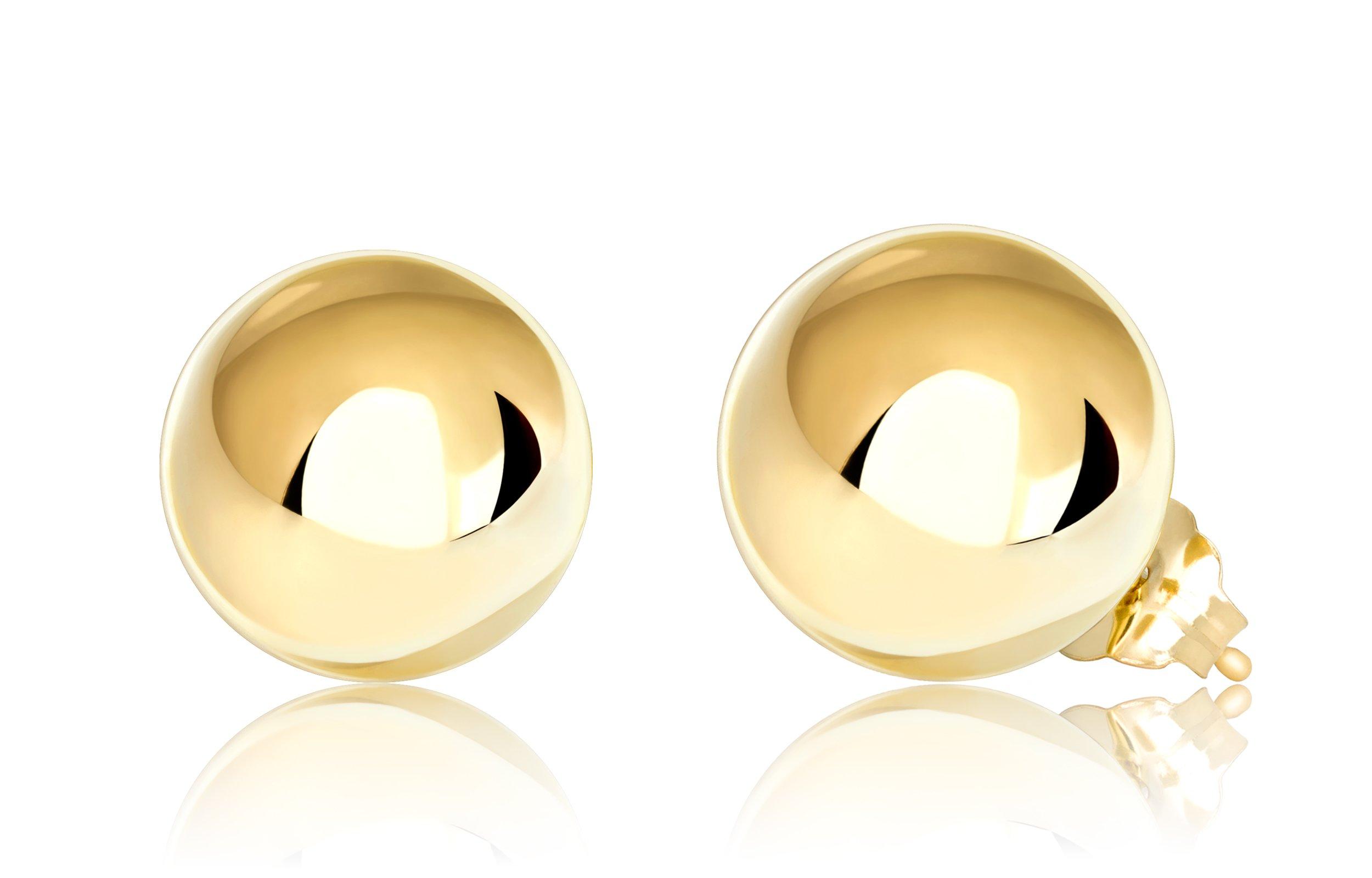 Premium 14K Yellow Gold Ball Stud Earrings (9mm - Yellow Gold)