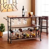 Carriage Serving Cart, Large 2-Tiered Rustic