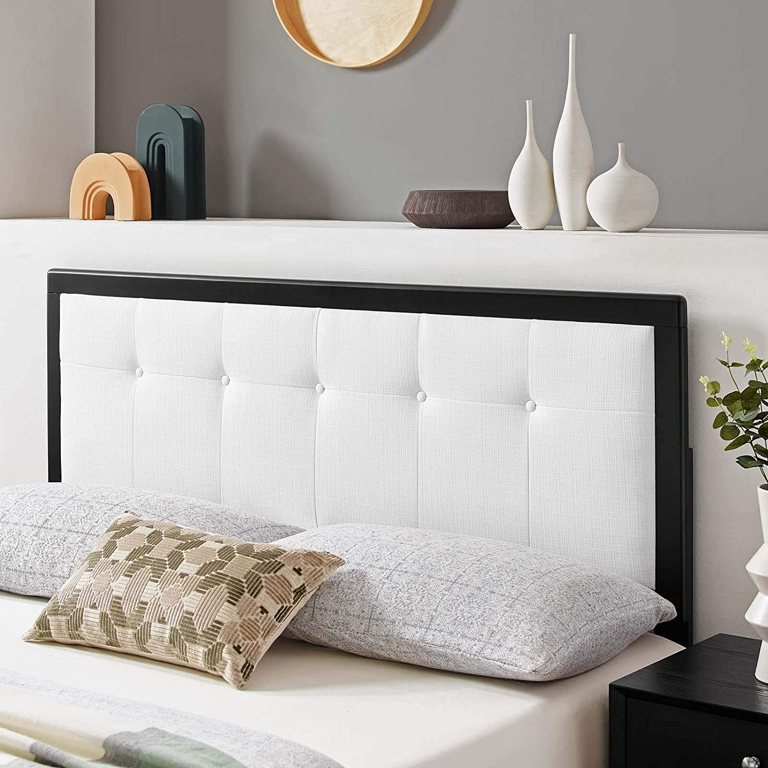 Draper Tufted Full Fabric and Wood Headboard in Black White