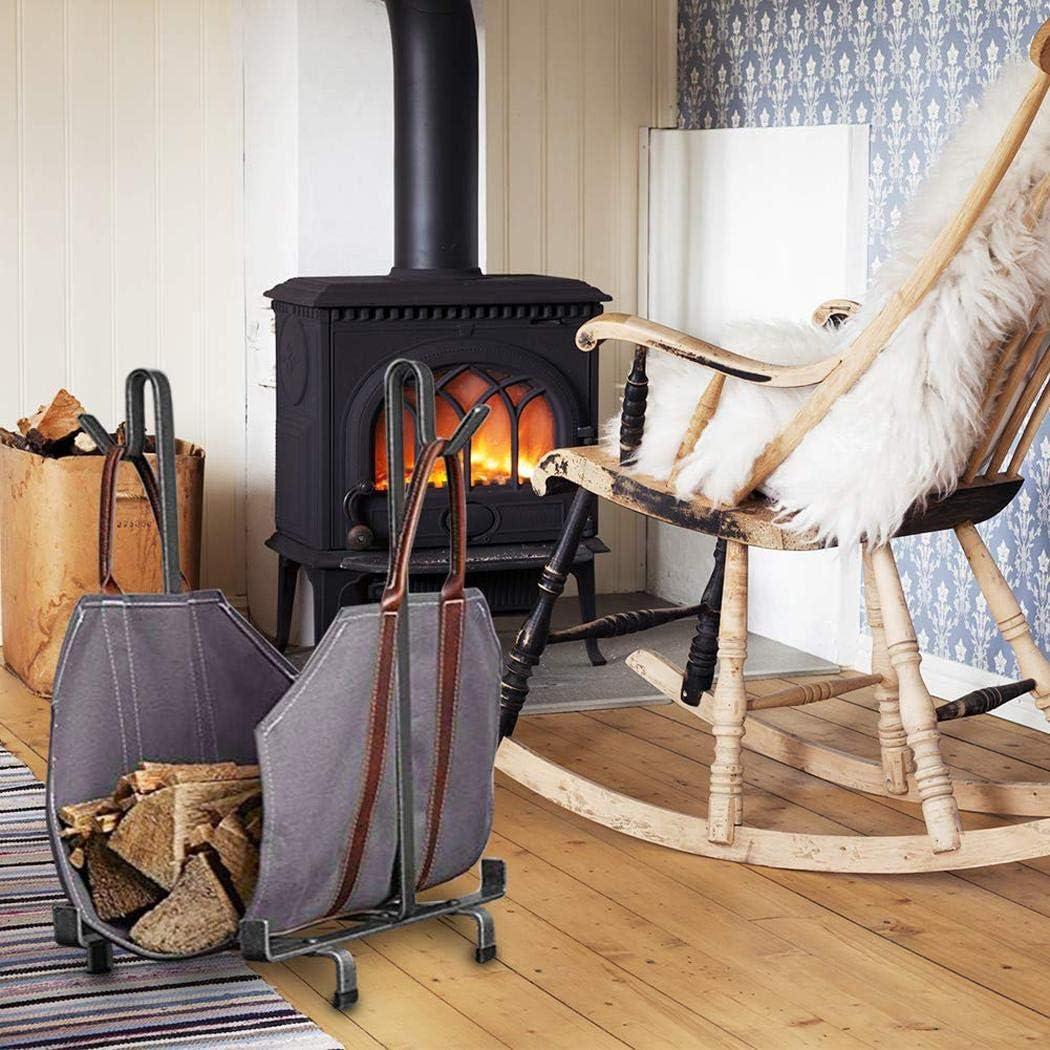 Sioneit Outdoor-Leinwand Brennholz Feuerholz Halter mit Griffen Tote Tragetasche Campingkocher
