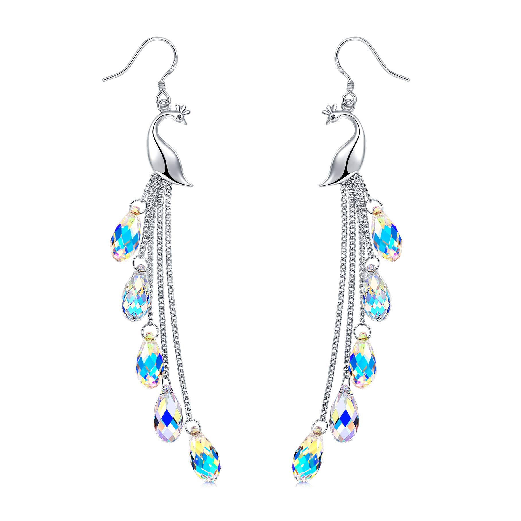 Sterling Silver Peacock Dangle Earrings With Swarovski Crystal, Jewelry Gift for Women Girls