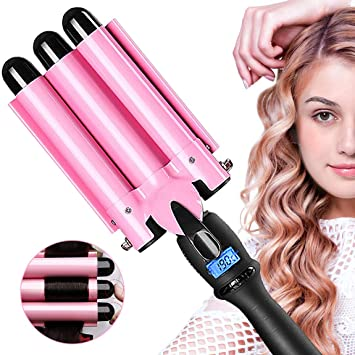 US Plug 3 Barrel Curling Iron Hot Tools Curling Wand 1 Inch Wave Hair Curlers Fast Heating with LCD Temperature Display Adjustable from 80℃ to 210℃