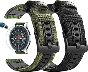 Maxjoy Compatible Galaxy Watch 46mm Bands, Galaxy Watch 3 45mm Band, Gear S3 Bands S3 Frontier Classic Nylon 22 mm Replacement Strap Compatible with Samsung Galaxy 46mm/ 3 45mm/ Gear S3 Watch, 2 Pack
