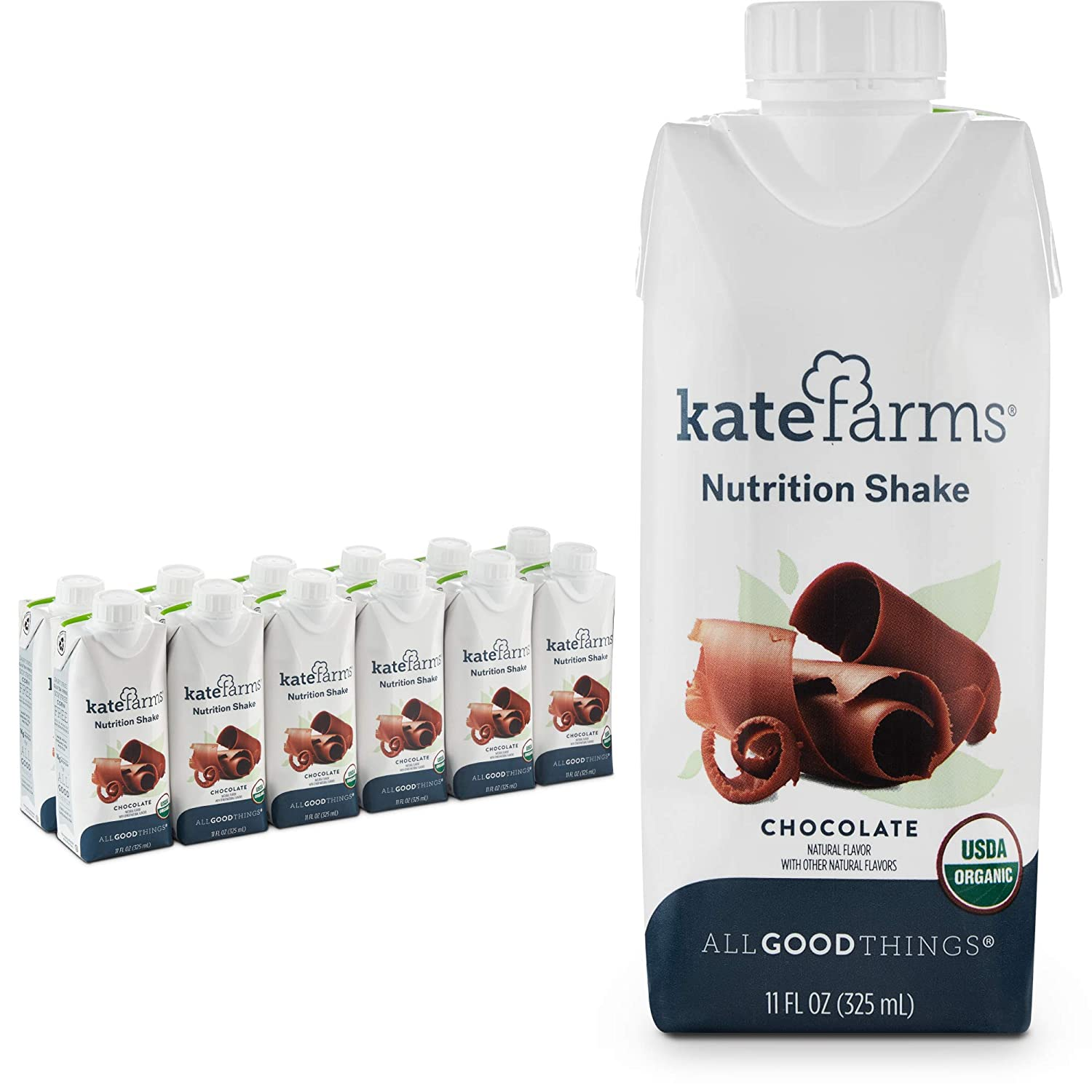 Kate Farms Organic Nutrition Shakes, Vegan Nutrient Dense Meal Replacement Drinks, Protein Shake or Supplemental Snack, Made Without Gluten, Soy, Dairy, or Corn (Chocolate, Case of 12)