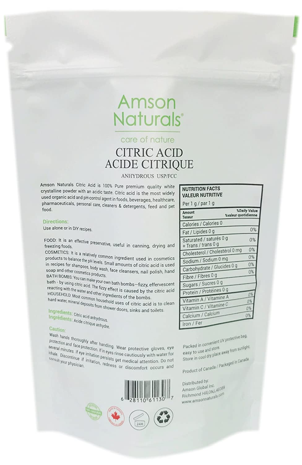 Citric Acid (Made in Canada) 1lb / 454 g –by Amson Naturals – 100% Pure  Food Grade white crystalline powder - use as food additive preservative,  bath