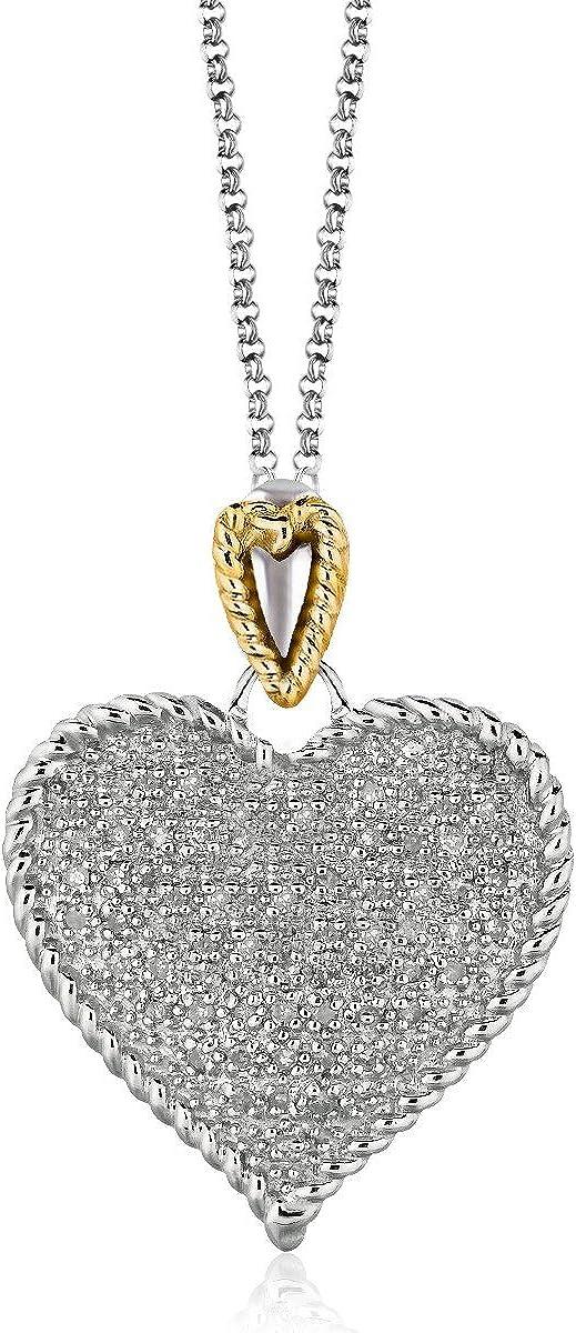 Colgante de plata de ley y oro amarillo de 14 quilates con forma de corazón y diamantes de imitación