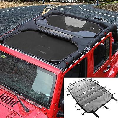 RT-TCZ Sunshade Mesh Top Cover Provides UV Sun Protection for Jeep Wrangler JK JKU 2007-2020 (Black 4 Doors): Automotive