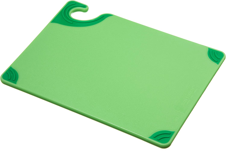 "San Jamar CBG912 Saf-T-Grip X-Pediter Co-Polymer Cutting Board, 12"" Length x 9"" Width x 3/8"" Thick, Green"