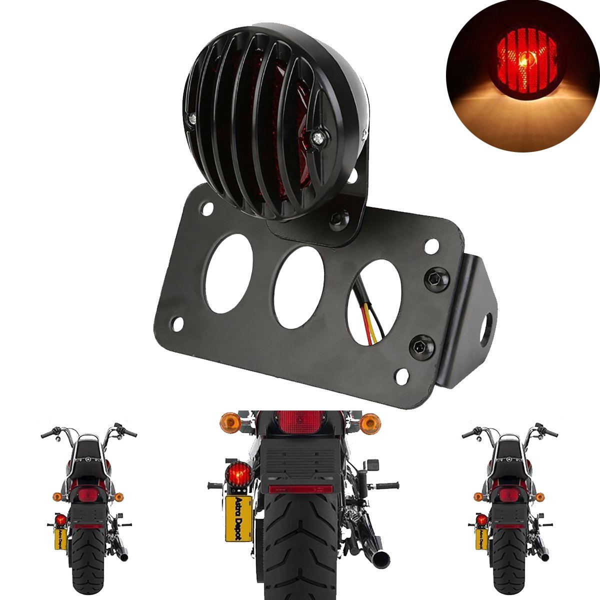 TUINCYN Red Motorcycle Tail Light with Black Heavy Duty Motorbike 12V Brake Stop Running Light Indicators Blinkers Lights with License Plate Holder 1-Pack BHBAZUALIn5366