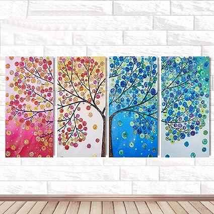 a5c71fd910 Digood 5D Artist Diamond Painting Kit - 4Pcs/Set DIY Cross Stitch Kit,  Flower Tree Diamond Embroidery Kit for Art & Craft, Living Room Wall Decor,  ...