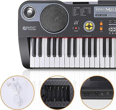 Miagicfun Teclado Piano Digital 61 Teclas, Teclado Electrónico Portátil con Atril, Altavoz y Modo de Grabación para Niños y Adultos Principiantes, ...