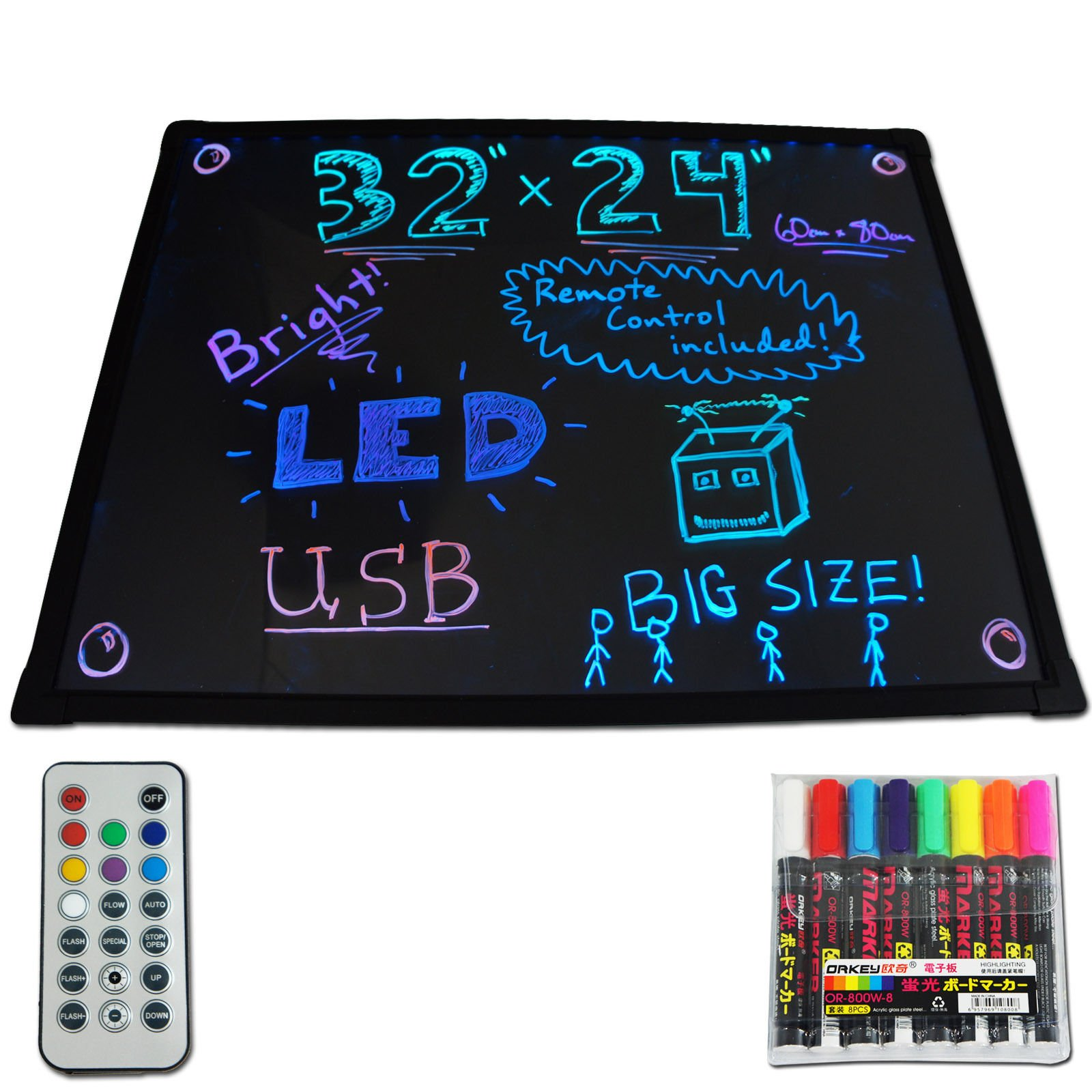 GHP 32'' x 24'' Fluorescent LED Message Board Business Store Sign w 8 Color Marker by Globe House Products