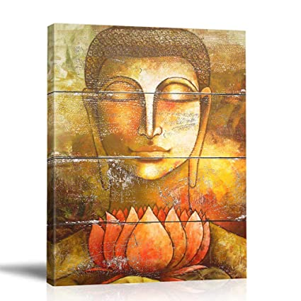 Boluo Buddha Wall Art Framed Zen Paintings For Living Room Lotus Flower Print Painting Yoga Room Decor 12 X 16 Inch