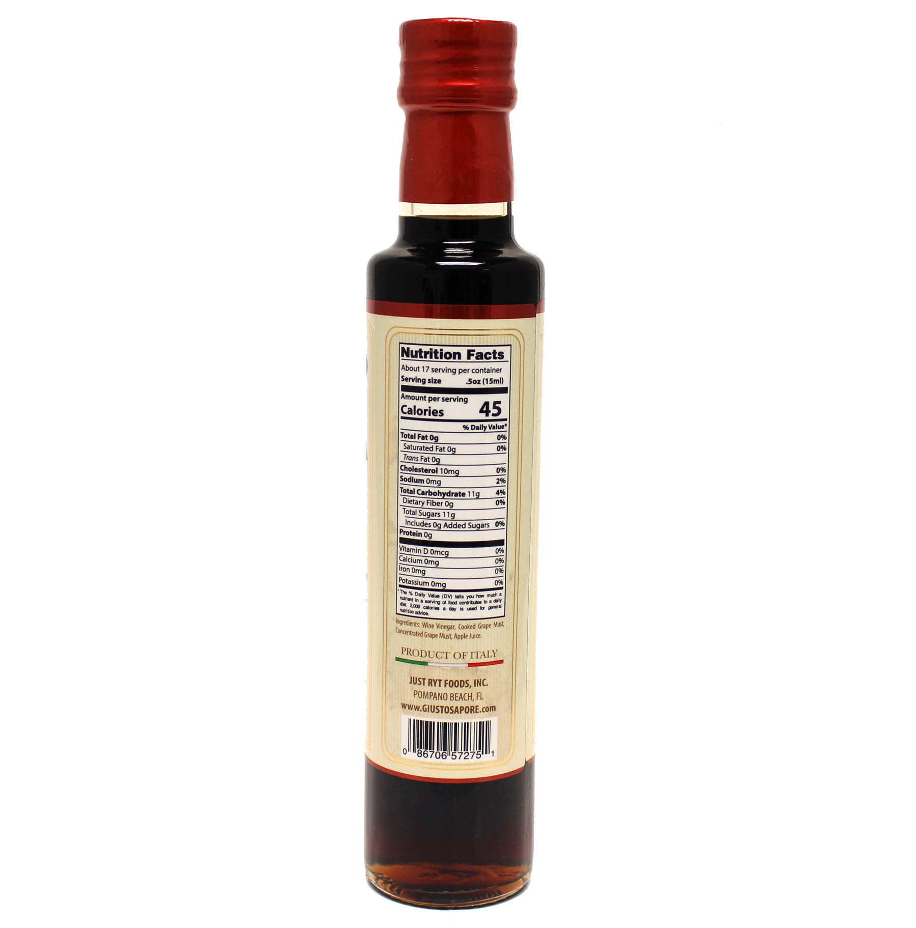 Giusto Sapore All Natural Balsamic Vinegar of Modena P.G.I. - 8.5oz - Made with Real Fruit Puree - Imported from Italy and Family Owned 3 APPLE ITALIAN BALSAMIC VINEGAR: Whether you're looking for personalized gifts for the Italian lovers in your life or you're looking for delicious Italian apple balsamic vinegar. With these balsamic vinegars, you'll have 17 servings of premium gourmet Italian vinegar ready to go! QUALITY: This is some of the best superior quality Italian fruit infused balsamic vinegars on the market today and probably the last one you will need to ever try! Any product which is not made in the legal area of Modena, under specific European Union production regulations cannot receive the P.G.I certification. DELICIOUS TASTE: Giusto Sapore's Italian Apple Balsamic Vinegars yields a sweeter and less pungent taste as well as more aroma and flavor. Balsamic fruit vinegars blend real fruit puree with white wine vinegar and cooked grape must to create all natural condiments bursting with flavor.