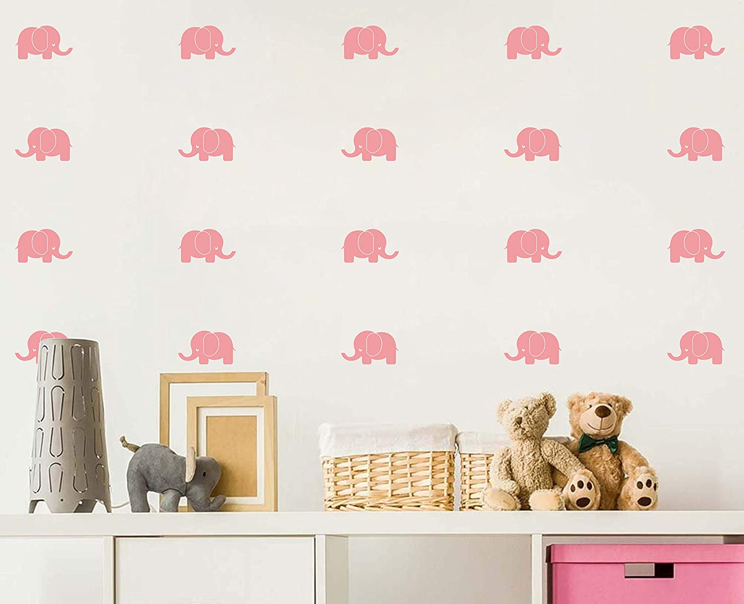 Baby Elephant Wall Decals/Nursery Wall Stickers/Baby Room Decor/Animal Vinyls/Baby Shower Gift, Removable Vinyl Wall Stickers for Baby Kids Boy Girl Bedroom Nursery Decor(A33) (State Gray) Yystore