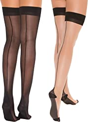 3bec0566b91a6 Womens Cuban Heel Stockings Black and Nude Thigh Highs Hosiery For Garter  Belts- 2 Pack