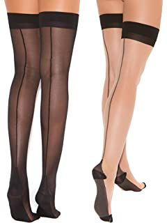 60cf1652e5322 Womens Cuban Heel Stockings Black and Nude Thigh Highs Hosiery For Garter  Belts- 2 Pack