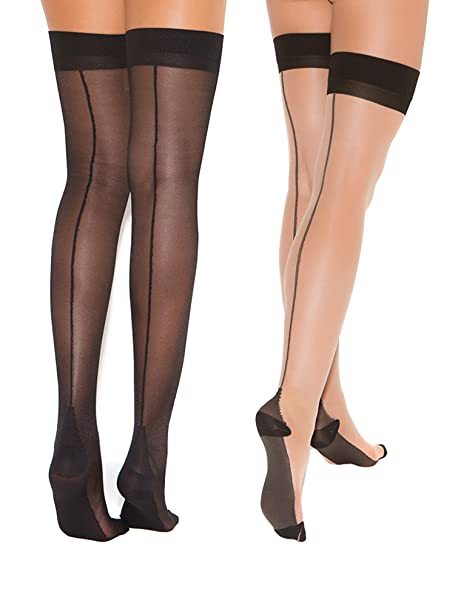 08ed9863d2f96 Amazon.com: Womens Cuban Heel Stockings Black and Nude Thigh Highs Hosiery  For Garter Belts- 2 Pack: Clothing