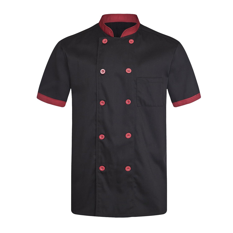 Made in EU strongAnt/® XXL Noir S Veste de Cuisine Chef Noire Homme Professionnel Manches Courtes