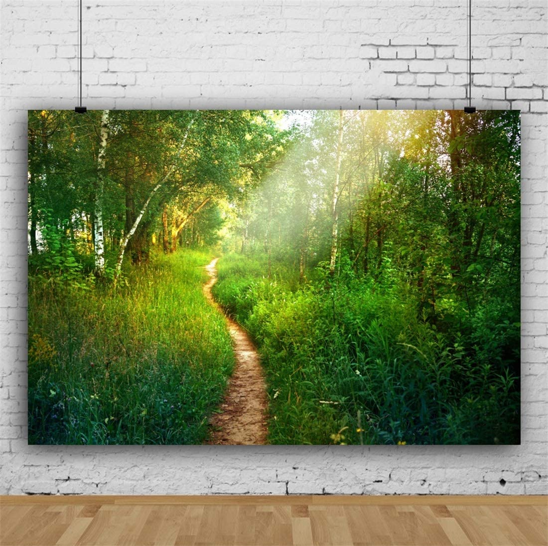 Yeele 10x8ft Spring Landscape Photography Background Green Tree Canyon Grassland Lawn Sunshine Forest Jungle Trail Party Decoration Photo Backdrop Adults Portrait