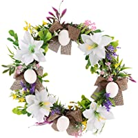 Easter Artificial Wreath Front Door Easter Eggs Hanging Wreath Garland for Party Favor Festival Home Wall Decoration (A)