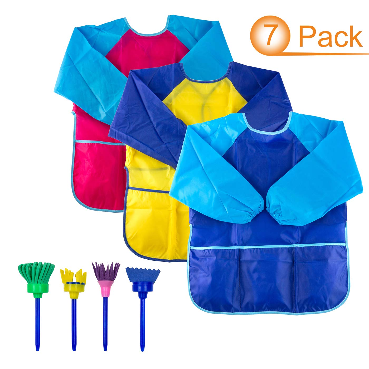 3pack Kids Art Smocks with Roomy Pockets Colored Painting Aprons with 4 Sponge Painting Brushes for Age 2-6 Solovey