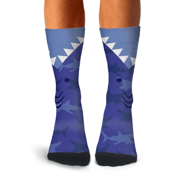 Over The Calf Socks For Men Pattern Compression Stockings Men KCOSSH Blue Shark Mens Crew Socks Crazy
