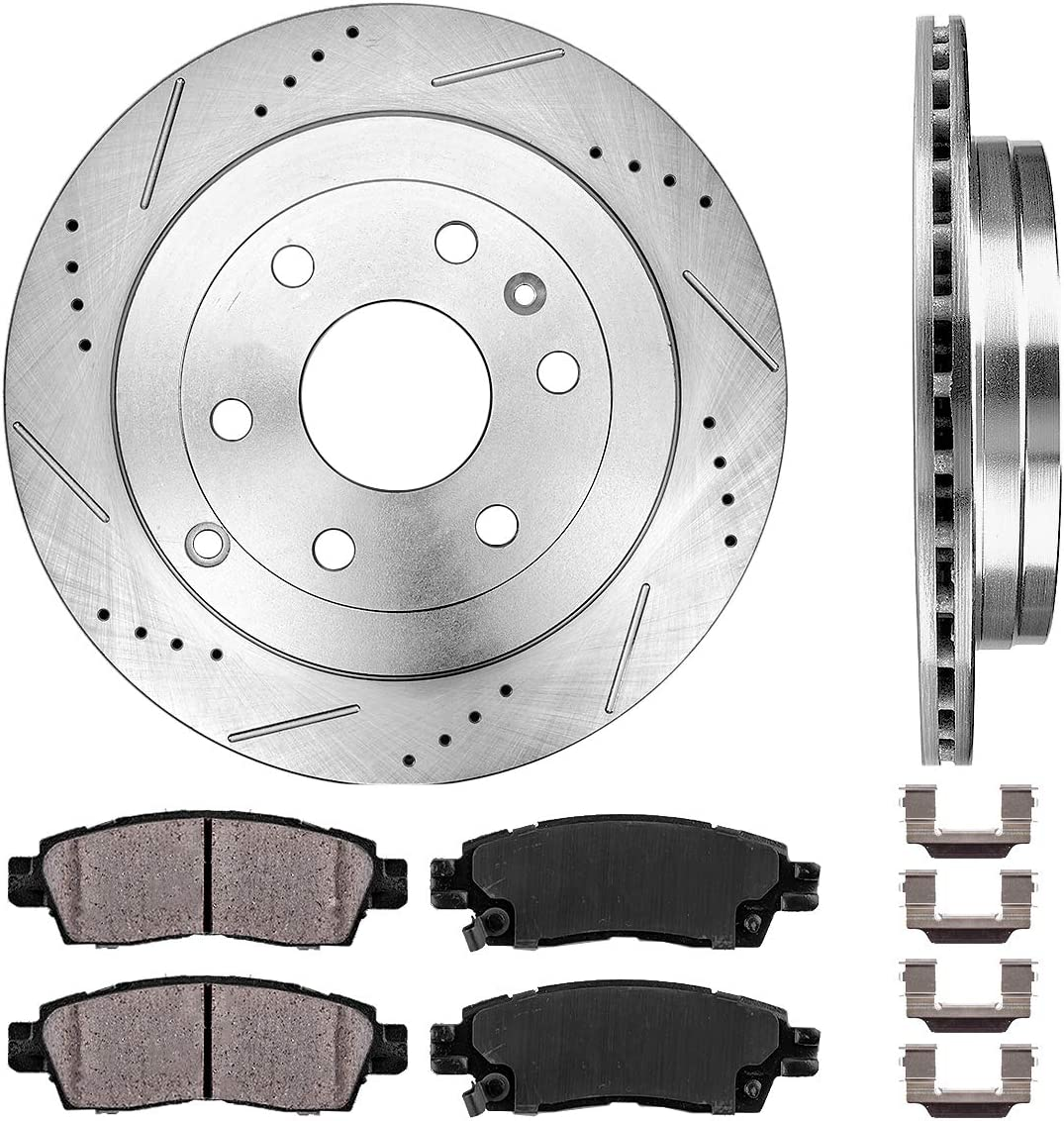 - 2007-16 GMC Acadia - 2007-10 Saturn Outlook Pair 2009-17 Chevy Traverse 2 Detroit Axle Front Drilled and Slotted Disc Brake Rotors w//Ceramic Pads for 2008-17 Buick Enclave -