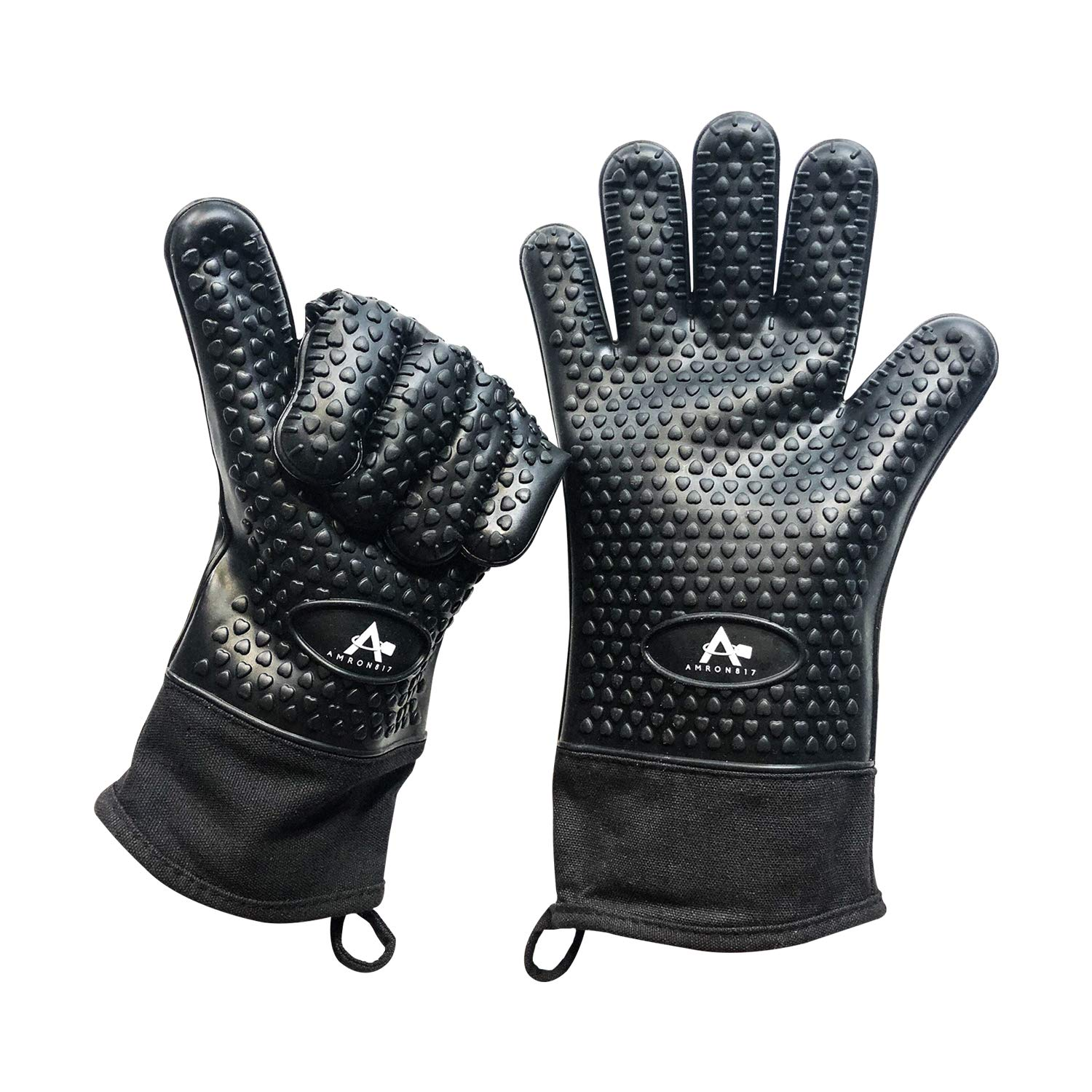 Premium Black Heat Resistant - Machine and Hand Washable - Silicone Oven Mitts - Black and Grey Color Options - ONLY on Amazon