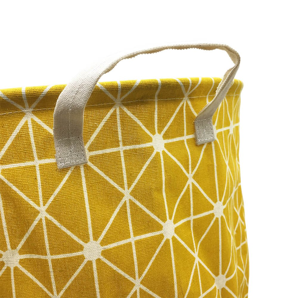 Mziart Collapsible Laundry Basket Hamper Cotton Fabric Nursery Toy Storage Basket for Bedroom Nursery Dorm Closet (Yellow Lattice) by Mziart (Image #3)