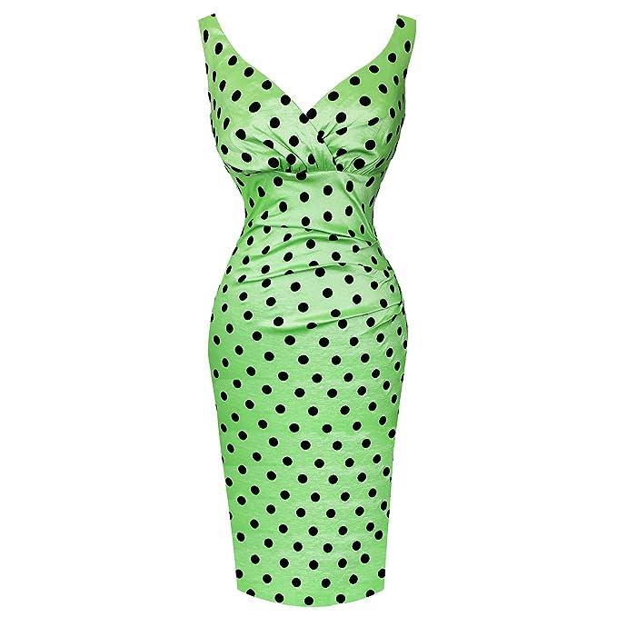 Para mujer verde Vintage e instrucciones para hacer vestidos Chic lápices de diseño de lunares 50s