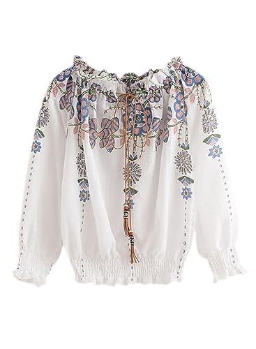 Azbro Mujer Blusa Elástica Estampado Floral Cuello Oblicuo