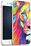 iPhone 7 Case, YFWOOD Colorful Lion Animal Shock Absorption Waterproof TPU Cover Lovely Lion Pattern Soft Silicone Cover for iPhone 7 Case