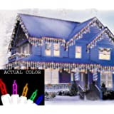 Set of 100 Multi Mini Icicle Christmas Lights - White Wire