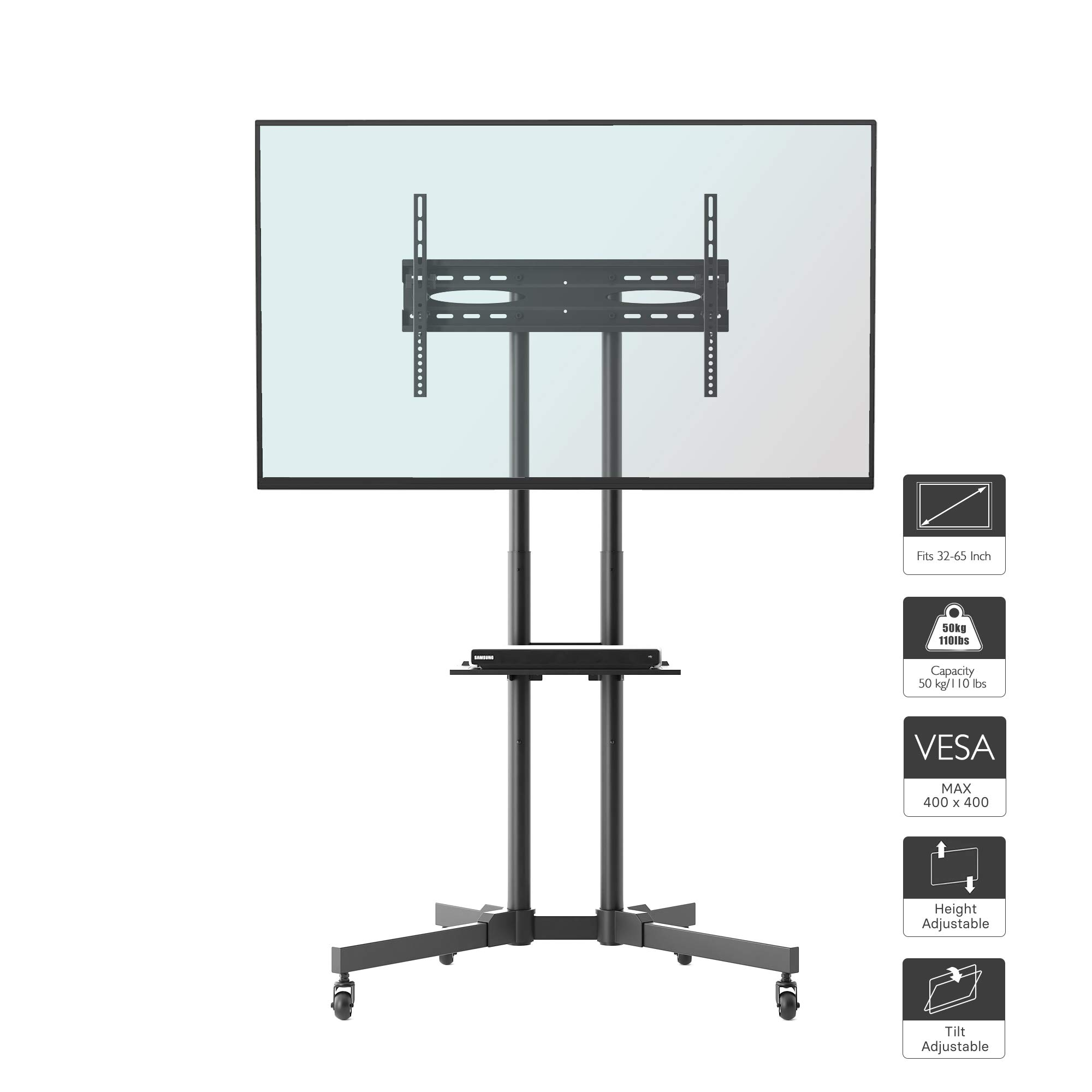 1home Rolling TV Cart Mobile TV Stand with Wheels for 32 to 65 inch LCD LED Plasma Flat Panel Screen Height Adjustable, Black
