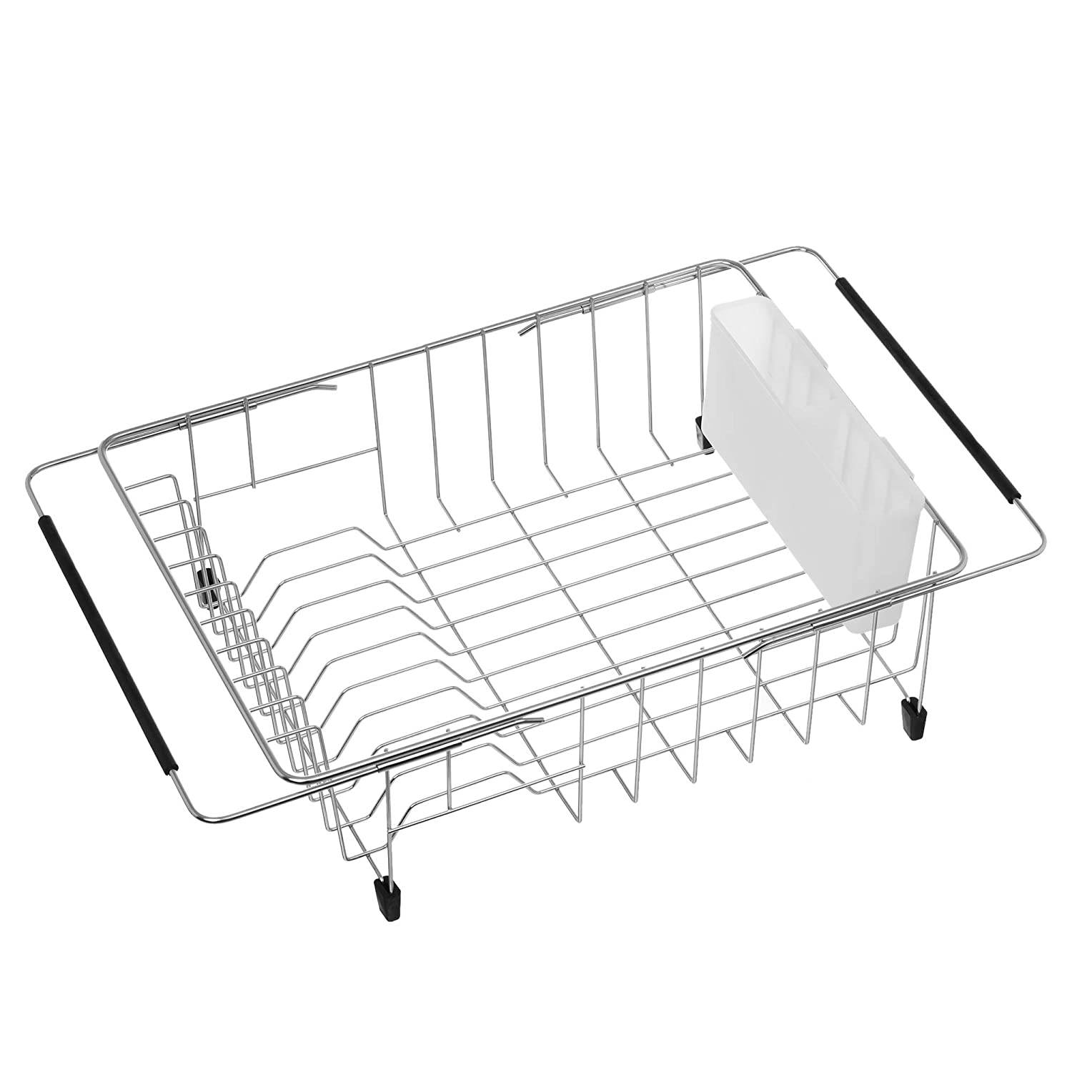 iPEGTOP Expandable Deep & Large Dish Drying Rack, Over the Sink, In Sink Or On Counter Dish Drainer with White Removable Utensil Silverware Holder, Rustproof Stainless Steel