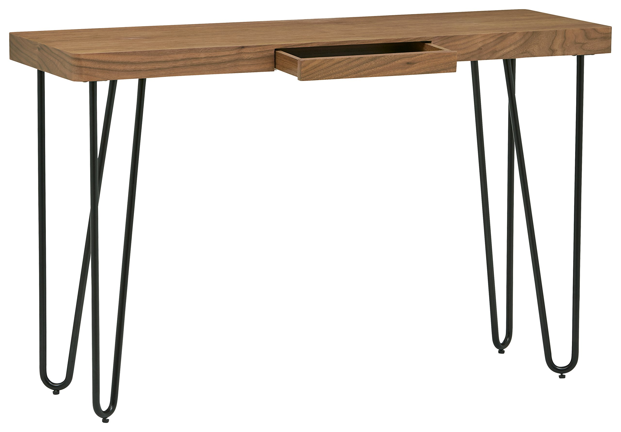 Rivet Hairpin Wood and Metal Tall 29.5'' Console Table, Walnut and Black by Rivet (Image #3)
