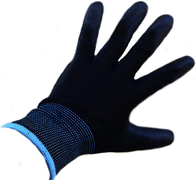 Restoration Work /& More Clamming Mechanic Scaffolding Work Glove for Gardening Fishing 12 Pairs PU Coated Black Nylon Work Gloves for Women and Men Medium M 8 Builders