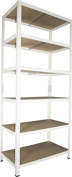 Ordnerregal Schwerlastregal in wei/ß 200 x 100 x 40 cm mit 6 B/öden Stecksystem aus Metall verzinkt: Metallregal geeignet als Kellerregal Archivregal Werkstattregal Lagerregal