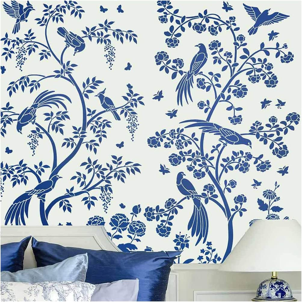 Amazon Com Birds And Roses Chinoiserie Wall Mural Stencil Wall Painting Stencils For Easy Room Makeover Large Stencil For Painting Walls Stenciling Instead Of Wallpaper Saves Money Small Arts