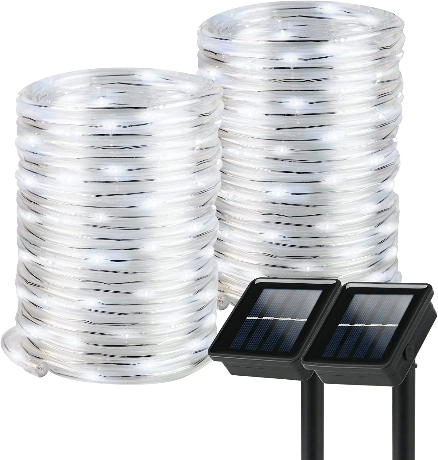 Solar Rope Lights, 2 Pack 8 Modes Solar Rope Lights Outdoor Waterproof IP65 with 100 LED, 40 Feet Solar Tube Lights for Poolside, Garden, Fence, Walkway (Cold Light)