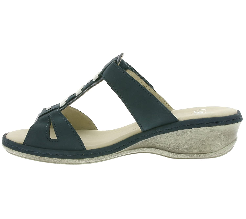 CAPRICE Plain Damen Schuhe Echtleder-Pantoletten Sandalen Blau 9-27250-28 869, Größenauswahl:36