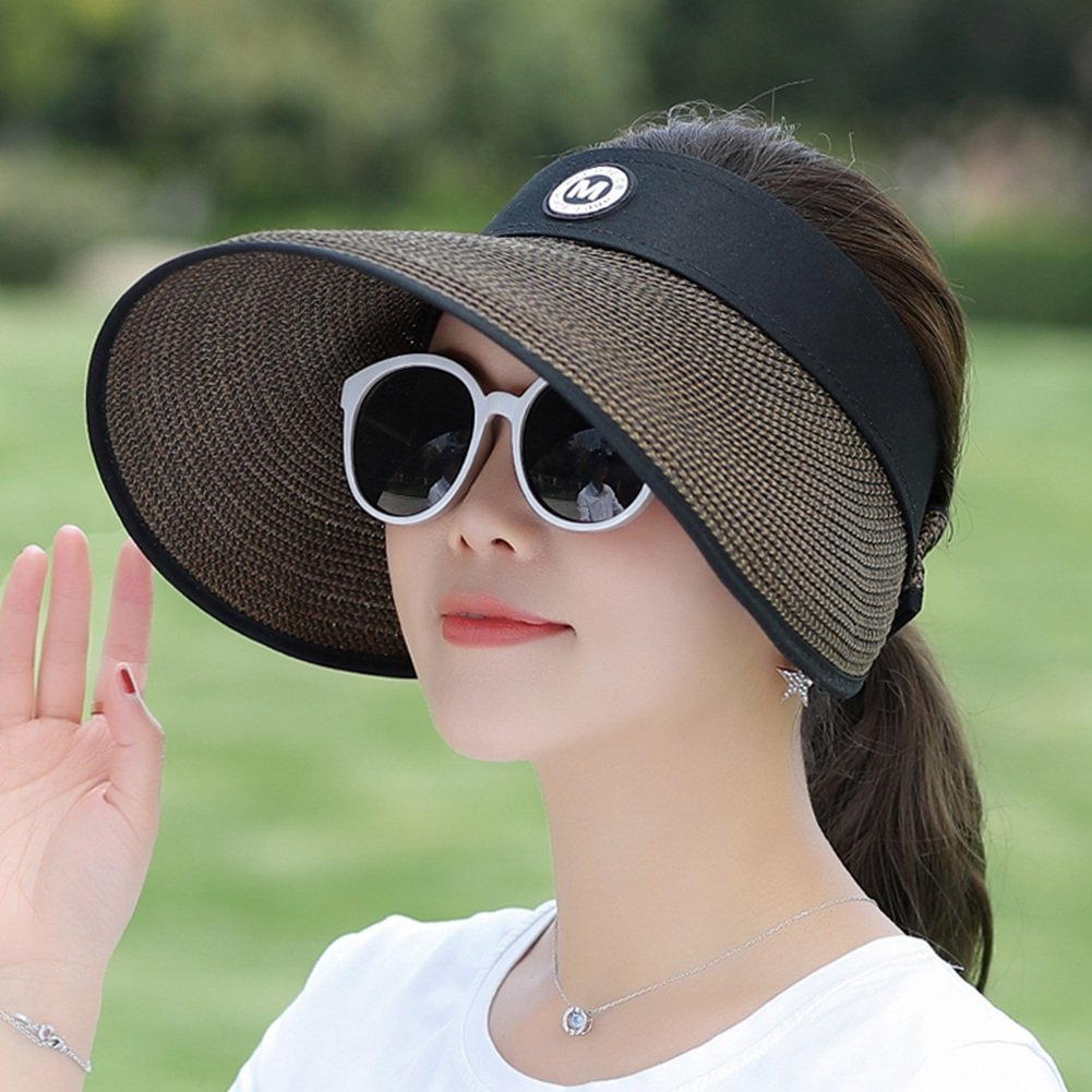 d7a74466aa7 Amazon.com  LBY Sun Protection Collapsible Outdoor Cycling Beach Hat Big 檐  Anti-UV Straw Hat Sun Hat Sun Hats (Color   4